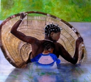 tableau personnages senegal sine saloum femme enfant : FEMME SENEGALAISE PECHANT AVEC SON ENFANT