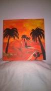 tableau paysages paysage desert palmier : DESERT