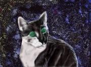 art numerique animaux chat yeux verts espace : Le chat