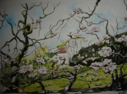 tableau paysages arbres nature fleurs paysages : pommiers en fleurs