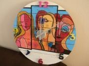 deco design abstrait horloge bois peinture picasso : horloge style Picasso