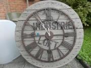 deco design horloge bois industriel vintage : horloge industrielle