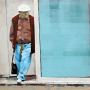 tableau personnages personnage acrylique rue peinture : L'attente