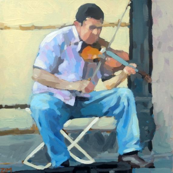 TABLEAU PEINTURE violoniste musicien rue homme Scène de genre Acrylique  - Le violoniste de rue