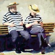 tableau personnages gondoliers gouache venise personnages : Les gondoliers