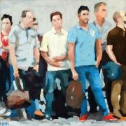 tableau personnages personnages tramway gouache scene de rue : En attendant le tramway