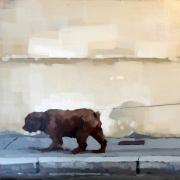 tableau animaux chien rue ville vie : Et son chien