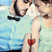 tableau personnages couple amoureux acrylique personnages : Couple