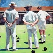 tableau personnages joueurs petanque boules gouache : Les joueurs