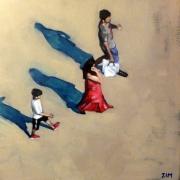 tableau personnages acrylique personnages figuratif rue : Point de vue 2
