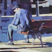 tableau personnages banc personnage lumiere bleu : Sur un banc