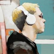 tableau personnages homme ecouteur portrait figuratif : L'homme aux écouteurs