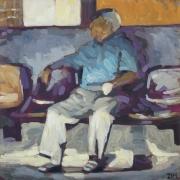 tableau personnages homme assis quai chemise : l'homme à la chemise bleu