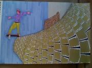 """dessin sport skateur sport paysage : """"Le skateur aux pieds d'argent."""