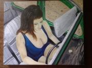 tableau personnages 2cv femme sexy : Au volant de la 2 cv