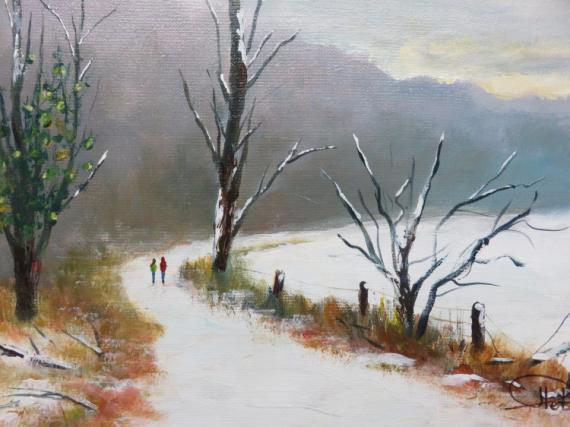 TABLEAU PEINTURE neige chemin d'hiver arbres Paysages Acrylique  - Ballade hivernale
