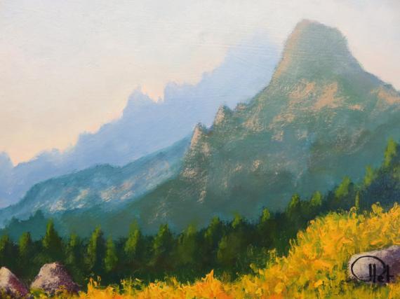 TABLEAU PEINTURE Corse Montagne Paysages Acrylique  - Aiguilles de Bavella