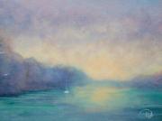 tableau marine bretagne mer coucher de soleil : Lumière sur le belon
