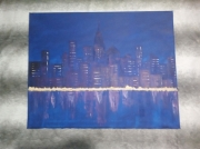 tableau paysages bleu ville nuit : New York