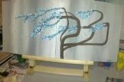 tableau abstrait arbre japonais bleu : Japan tree