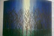 tableau paysages foret lune bleu sorcier : Man in black in the forest