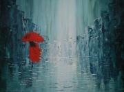 tableau abstrait ville pluie bleue lumiere : Lea in the blue city rain