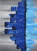tableau abstrait buildings ville bleu horizon : Manhattan,the September 10th