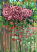 tableau fleurs fleurs roses vegetation vert : Pink flowers