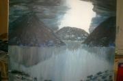 tableau paysages paysage montagne bleu : Sans nom