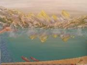 tableau paysages brouillard givre montagne lac : froid brouillard