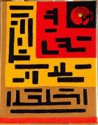 tableau abstrait : Labyrinthe ROUGE