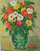 tableau fleurs vase fleurs vert : Le Bouquet