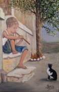 tableau personnages garconnet chat flute enfance : Le joueur de flûte