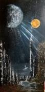tableau abstrait espace galaxie lune soleil : Reverse Galactica