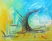 tableau vague abstrait bleu jaune : La Vague