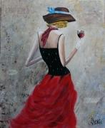 tableau personnages femme retro opera rouge : L'opéra