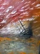 tableau marine bateau marine mer orange : L Naufrage
