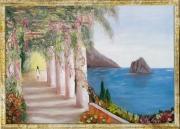 tableau paysages capri mer paysage : Une après midi d'été