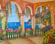 tableau paysages capri mer : Capri et vivre
