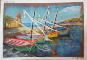 tableau paysages bateaux mer bleu : Les pastels