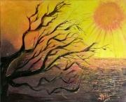 tableau paysages soleil mer jaune : Soleil brûlant