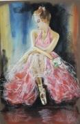 tableau personnages danseuse classique femme : L:attente