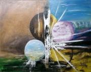 tableau abstrait planetes monde ciel : Le nouveau monde