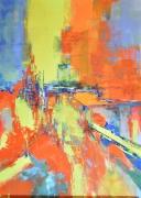 tableau abstrait : LUMIERE SUR LA VILLE