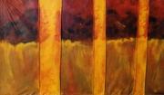 tableau peinture animiste terre matiere : Pluie d'été