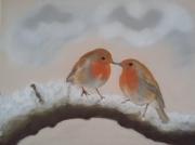 tableau animaux oiseaux neige froid hiver : Les rossignols