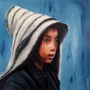 tableau personnages portrait enfant emotion tibetain : Laya