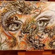tableau abstrait : regard dragons