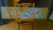 tableau personnages : Bouddha aux orchidées sur toile de lin