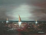 tableau marine peinture mer bateau dore : Clair de lune